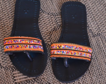 A'frican Maasai  Beaded Sandals | Mixed Color Sandals | Flip-flops Sandals | Summer Sandals |Tribal Sandals | Leather Sandals | Gift For Her