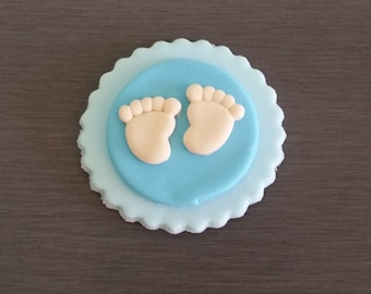 6 x Baby Shower Cupcake Toppers - Blue Edible Feet