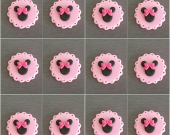 12 x Minnie Mouse Cupcake toppers, fondant Minnie Mouse Decorations, edible cupcake toppers