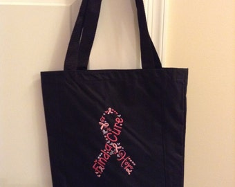 Find a Cure Pink Ribbon Tote Bag
