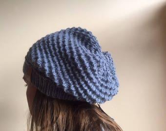 Blue/grey wool and alpaca slouchy