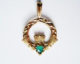 9k Solid Gold Emerald Irish Claddagh Pendant. Ireland, St Patrick. Synthetic Gemstone Charm.