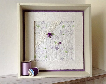 Purple and white quilt square, embellished quilt, 1940's quilt, vintage quilt, cutter quilt, American quilt, shabby cottage chic