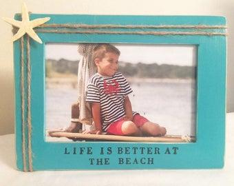 Beach frame, sea frame, beach decor, starfish frame, beach bride, wedding on the beach frame