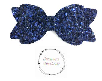 Pink/orange/blue glitter hair bow hair clip 'Octavia bow'