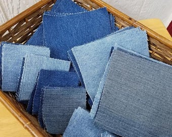 """Precut Blue Denim Quilting Squares 5.5"""" and 3"""" For Blue Jean Quilt or Patchwork Denim Projects 100% Cotton"""