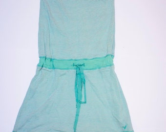 Green strapless dress size 38 waist drawcord