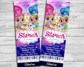 Shimmer and Shine Birthday Invitations, Shimmer and Shine Ticket, Shimmer and Shine Invitation,Shimmer and Shine Thank you card SH_1| MLSH_5
