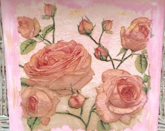 Hand decorated vintage rose mini canvas, wall art, wall decor, pictures, roses, home decor, canvas art, pink picture