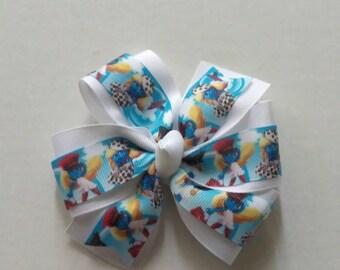 Smurfette inspired hair bow, Smurfs hair clip, Smurfs movie hair bow