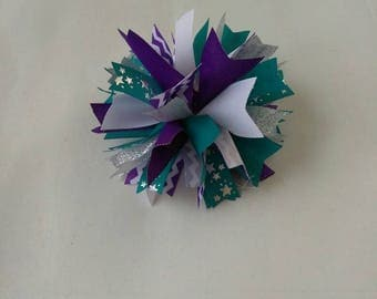 Teal puff spiked hair bow, teal and purple cheer bow, Firecracker Bow, Sports hair bow, Team hair bow, Charolette Hornets