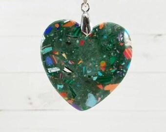 Heart Malachite Pendant,Malachite Heart Necklace, Heart Necklace, Heart Pendant, Heart Amulet, Malachite Heart Pendant, Gemstone Pendant