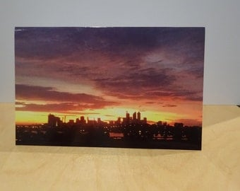 Perth City Western Australia sunset  Greetings Card Blank Natural unedited Photograph clouds vivid purple