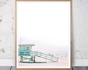 Beach Print, Beach Decor, Wall Art Photo Prints, Beach Printable Art, Lifeguard Tower, Beach Life, Beach Photography, Coastal, Summer Decor
