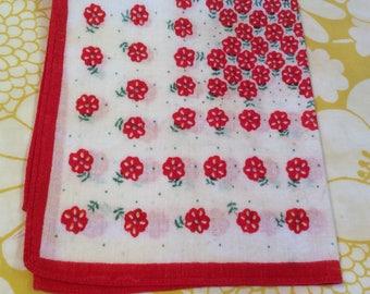 Vintage Red and White Handkerchief ~ Red Flowers ~ Ladies Cotton Handkerchief