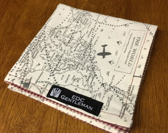 Handkerchief - World Map with Red and White Gingham Vintage Aviation Cotton Hank, EDC Everyday Carry