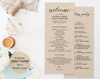 Wedding Program Template, Printable Wedding Program, Ceremony Printable Template, Instant Download Editable PDF Rustic Calligraphy #SPP007pr