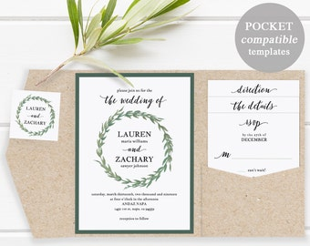 Pocket Wedding Invitation Set, Printable Wedding Invitation Template DIY Wedding Invite Download Watercolor Boatnical Wreath #SPP032wip