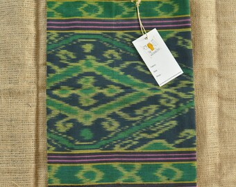 Scarf Handwoven Cotton | Long Handmade Black Green Scarf | Handwoven in Sasak Village, Indonesia | FREE SHIPPING