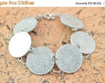 On Sale Replica Medieval Arabic Coin Link Bracelet Sterling Silver 39.8g