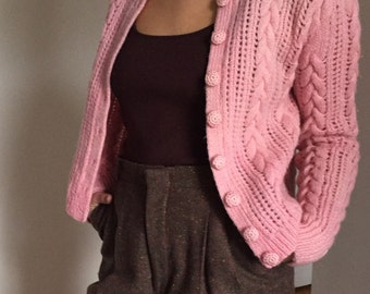 Vintage 60s ballerina pink hand knit cable wool sweater 1960s pastel cropped cardigan made in England XS S