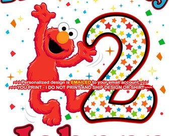 YOU PRINT- Elmo Birthday Boy iron on, Elmo iron on, Elmo Birthday Shirt decal, Elmo Birthday iron on, Elmo - ELMO