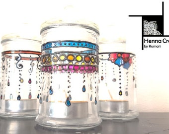 3 150ml Glass Jars with Henna Inspired Designs