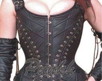 Overbust Steel Boned Genuine Cow Leather Fetish Corset Bustier 9015 SZ S to XL
