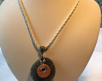 Rock and Clay Essential Oil Necklace -gift for her