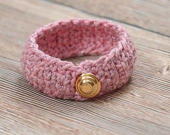 Crochet Wrap, Threaded Bracelet, Textile Jewelry, cotton cuff, Bracelet pink color, Friendship Bracelet, organic jewelry, lightweight gifts