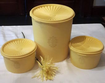 Tupperware Lemon Yellow set of 3
