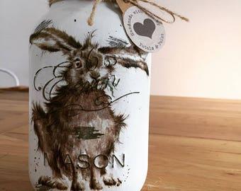 Handmade Hare Rabbit Mason Jar