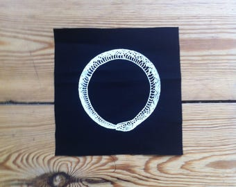 Ouroboros Patch, Sew on Patch, Screen Printed Patch, Black Patch, punk patch