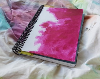 Spiral bound art journal / sketch book / junk journal with found pictures in the pages