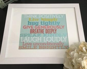 Think Positively - Family Rules Framed Art, Wall Decor, Housewarming Gift, Nursery Decor, Office Decor, Inspirational Decor, Home Decor