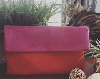 Purple & Orange Velvet Clutch