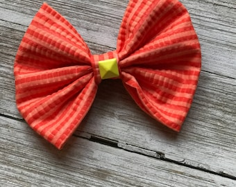 Neon orange studded bow, bow tie, toddler bow, baby bow