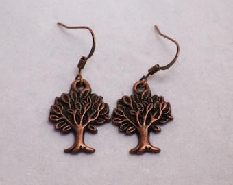 Copper Tree Earrings  (E12-301)