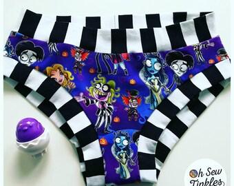 Tim Burton Inspired Scrundies nickers undies briefs or boy shorts XS-XXXL