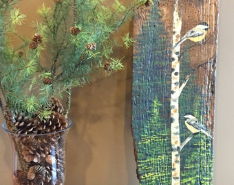 CHICKADEES on BARN WOOD, chickadees, birds, song birds on barn wood,