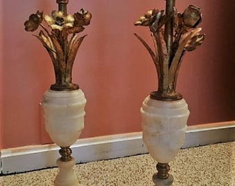 Neoclassical Alabaster and Toleware Lamps