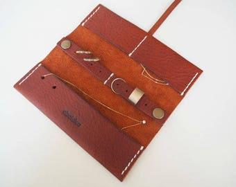 Leather Travel Jewellery Roll, Leather Travel Jewellery Case, Leather Jewellery Organizer