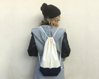 Raw cotton and jeans bag-LIMITED EDITION