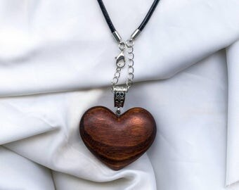 Wooden heart necklace, wooden necklace, wooden jewellery, gift for her, valentines, wood heart pendant, made from Paraguayan rosewood.