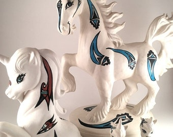 Native American Vintage Hand Painted Ceramic Unicorn Figurines, Artist Signed, Collectible