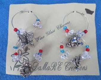 Vintage Set of 4 Butterfly Nature Wine Charms