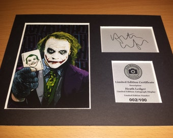 Heath Ledger - The Joker - Batman - Signed Autograph Display - Fully Mounted and Ready To Be Framed V1