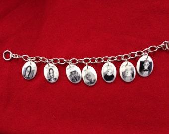 Addams Family ceramic charm bracelet