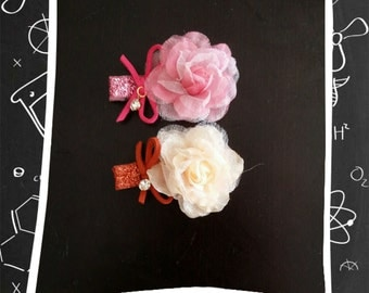 baby girl shiny chiffon flower ribbon hair clip bow