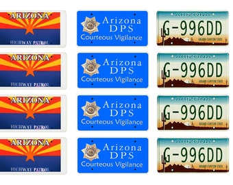 scale model Arizona Highway Patrol police car license tag plates